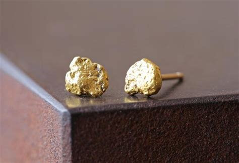 Raw Gold Nugget Stud Earrings ? Alexis Russell