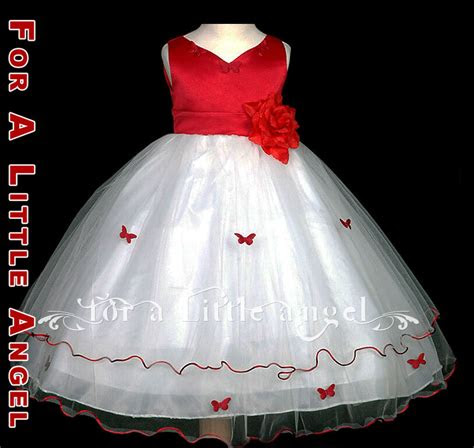 red white butterfly roses flower girl dress size