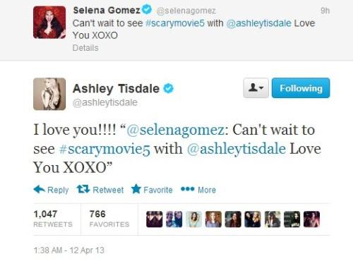 @selenagomez: Can't wait to see #scarymovie5 with @ashleytisdale Love You XOXO @shleytisdale: I love you!!!!