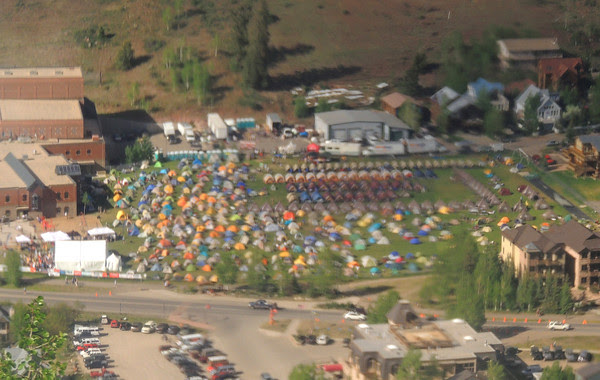 Tent City through gondola window