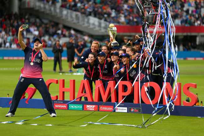 A selfie for the champions: England beat India by nine runs in the final at a packed Lord's to clinch the ICC Women's World Cup 2017 title.