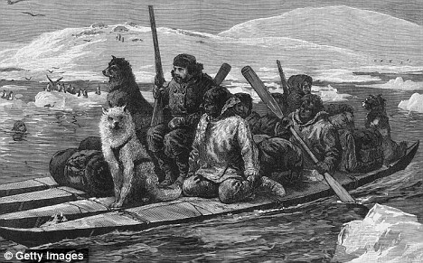 circa 1818: Franklin sets off in a low boat with a crew, supplies  and dogs
