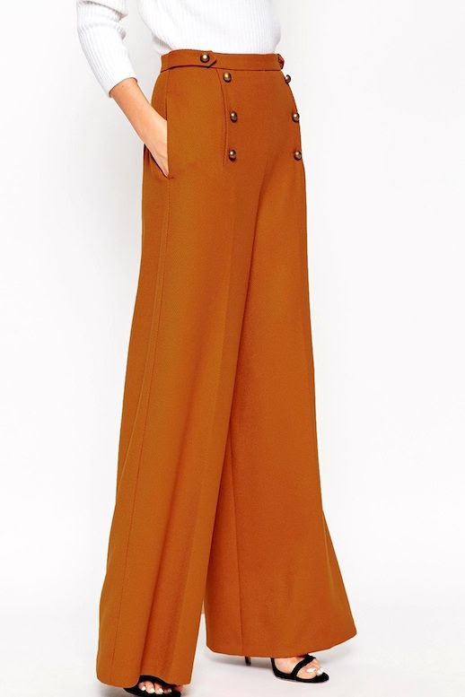 Le Fashion Blog Fall Office Style Ribbed White Sweater Brown Orange Button Front Wide Leg Pants Black Strappy Heels Via ASOS