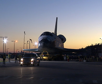 Shuttle Atlantis makes its final departure from the Vehicle Assembly Building at NASA's Kennedy Space Center
