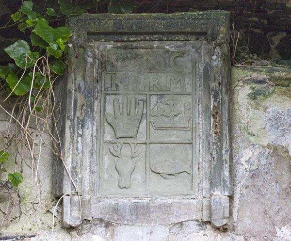 06D-7025a Heraldic Symbols Balnakeil Church Near Durness Scotland UK