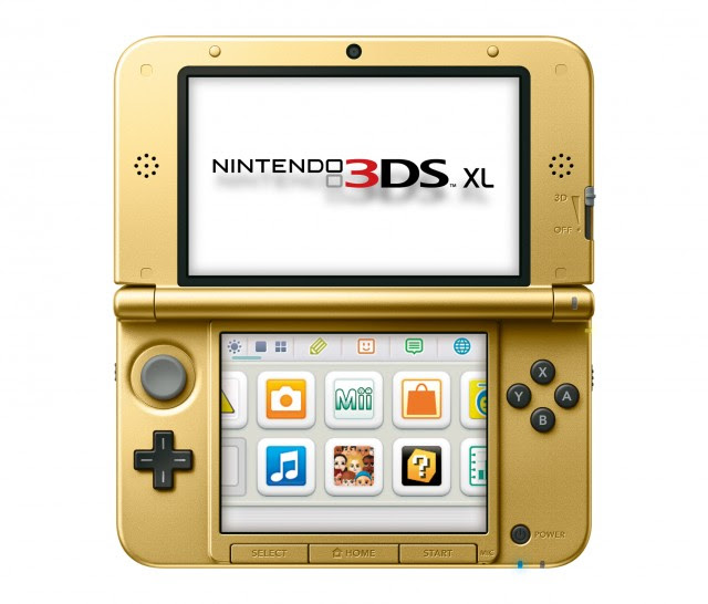 Gold 3DS XL front view