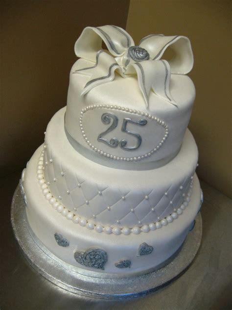 Silver Wedding Anniversary Sweet Decoration Cake Idea