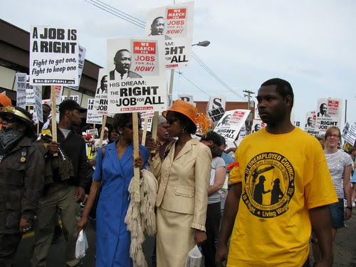 Participants in the National March for Jobs in Pittsburgh on September 20, 2009. The demonstration organized by the Bail Out the People Movement kicked off the protests surrounding the G20 summit. (Photo: Alan Pollock) by Pan-African News Wire File Photos