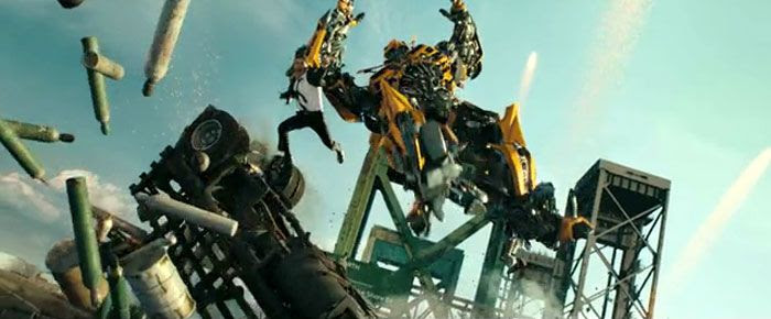 Bumblebee once again saves Sam Witwicky's life in TRANSFORMERS: DARK OF THE MOON.