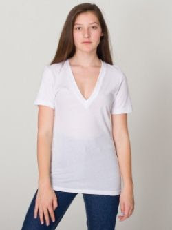 American Apparel Sheer Jersey V-Neck Tee