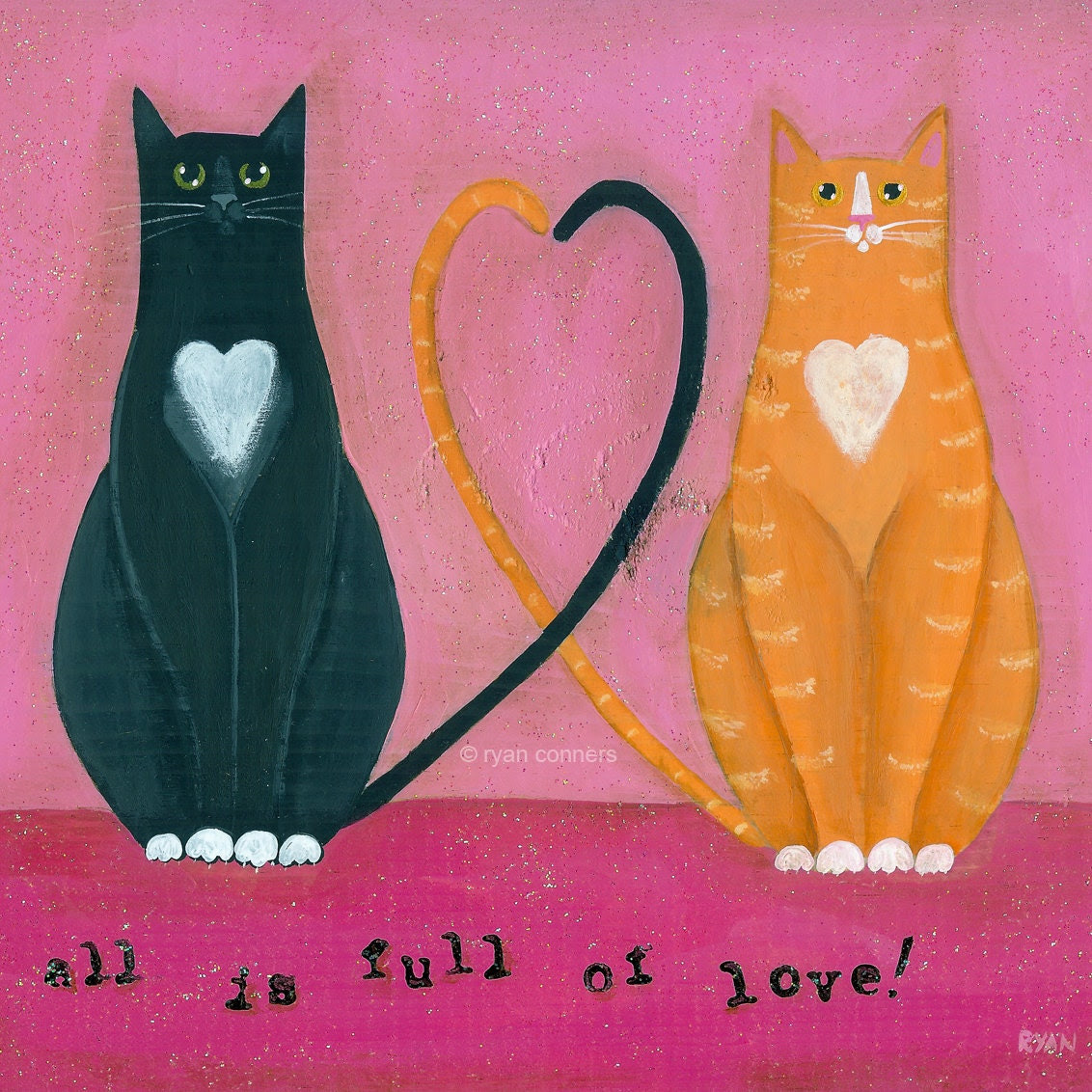 The Love Cats Folk Art Digital Print - KilkennycatArt