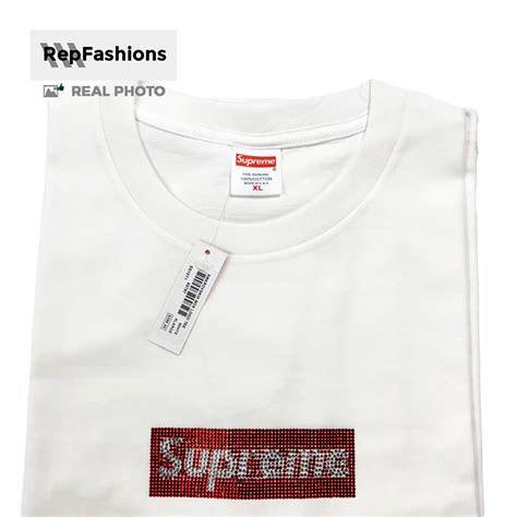quality replica supreme swarovski box logo tee  sale