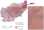 Thumbnail of Geographic distribution of military personnel with wounds contaminated by mold (n = 101) and control-patients (n = 66), Afghanistan, 2009–2011. Inset shows detail view of southern Afghanistan region where most cases originated. The mold contaminated group includes 7 patients for whom cultures did not show mold growth, but were diagnosed with invasive fungal wound infections (IFIs) on the basis of histopathologic examination. Five patients with injuries sustained outside the study re