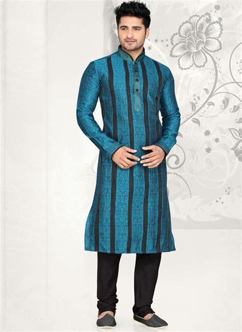 Teal Blue Dhupion Pintuck Work Designer Kurta Pajama