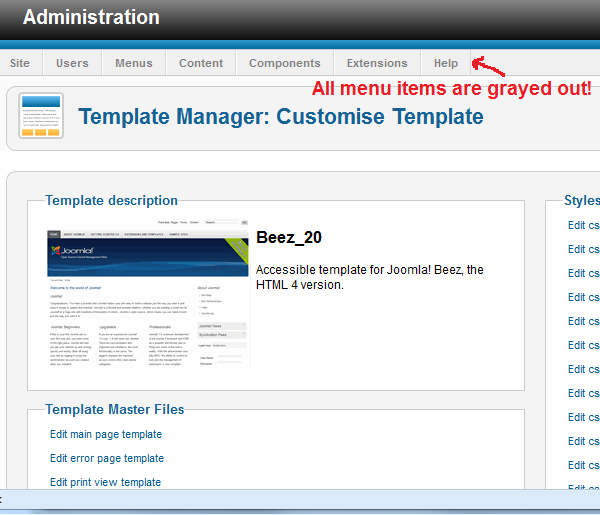 Joomla Admin Panel Menu Disabled or Grayed Out