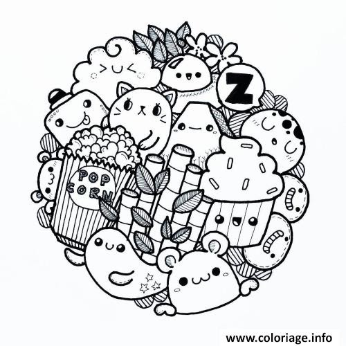 Coloriage Kawaii Food Animal Cute Jecoloriecom