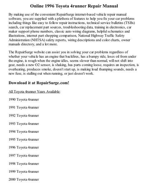 1996 Toyota 4runner Repair Manual Online