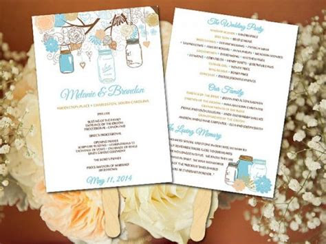 diy wedding fan program template mason jar wedding fan