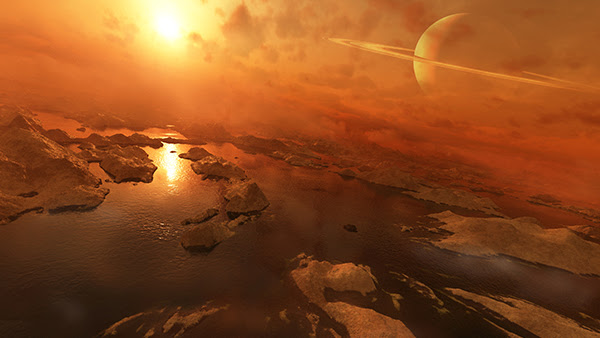 Lakes of liquid hydrocarbons on Titan, one of Saturn's  62 moons.  (Illustration by Steven Hobbs)