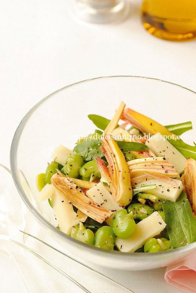 Insalata di Fave, Pecorino, Rucola e Carciofi-Fava Bean, Pecorino, Rocket and Artichoke Salad