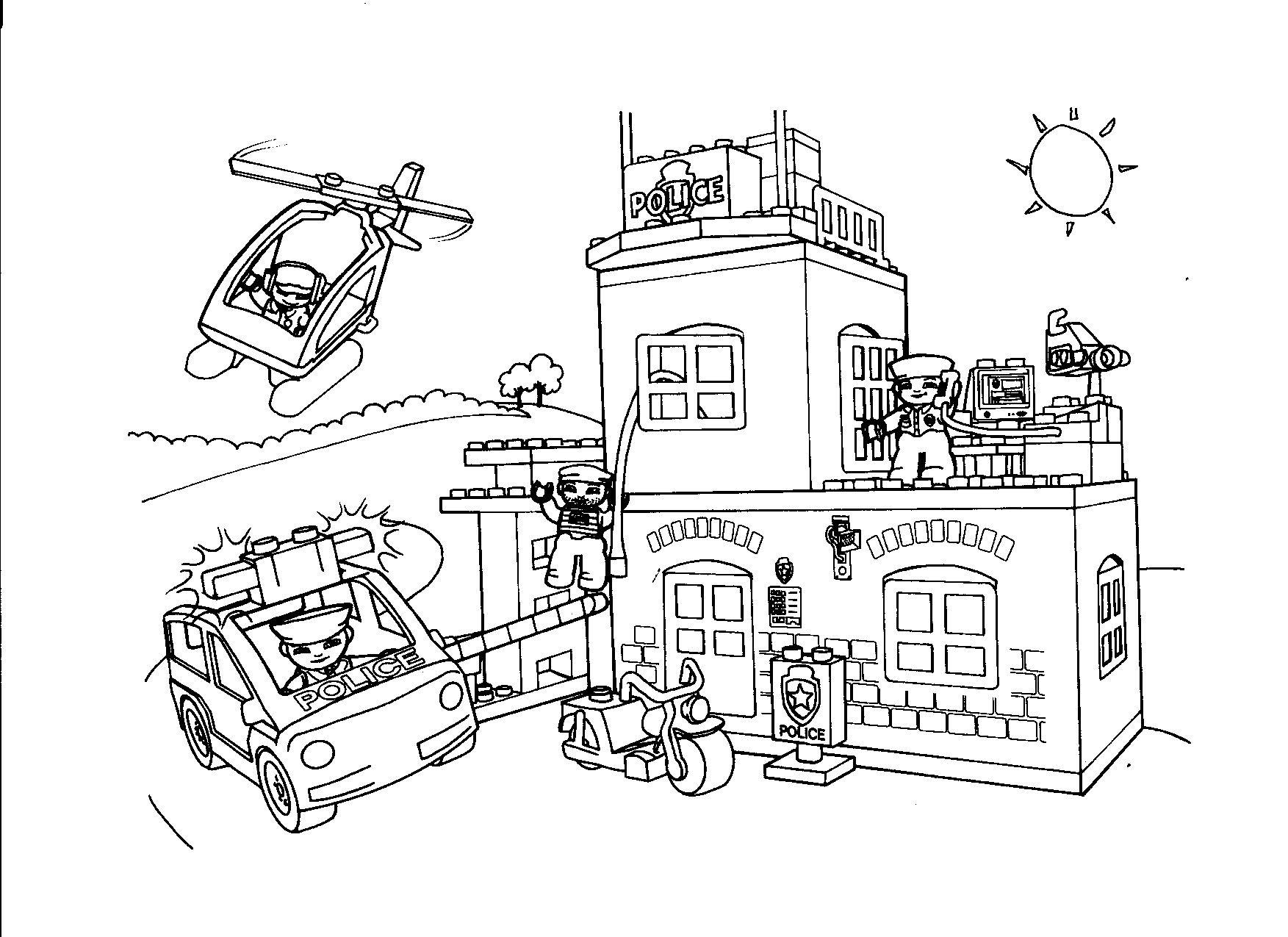 luxe kleurplaat politie lego krijg duizenden kleurenfoto