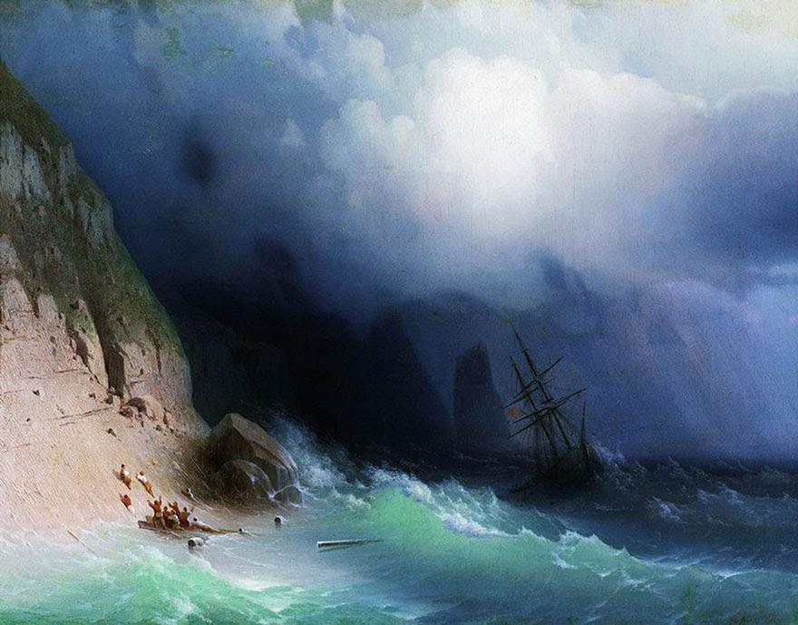 -pintura del siglo fascinantes-translúcidos ondas-19a-ivan-konstantinovich-aivazovsky-1