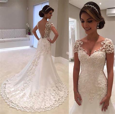 Vestido de noiva Robe de mariage V Neck Short Sleeve