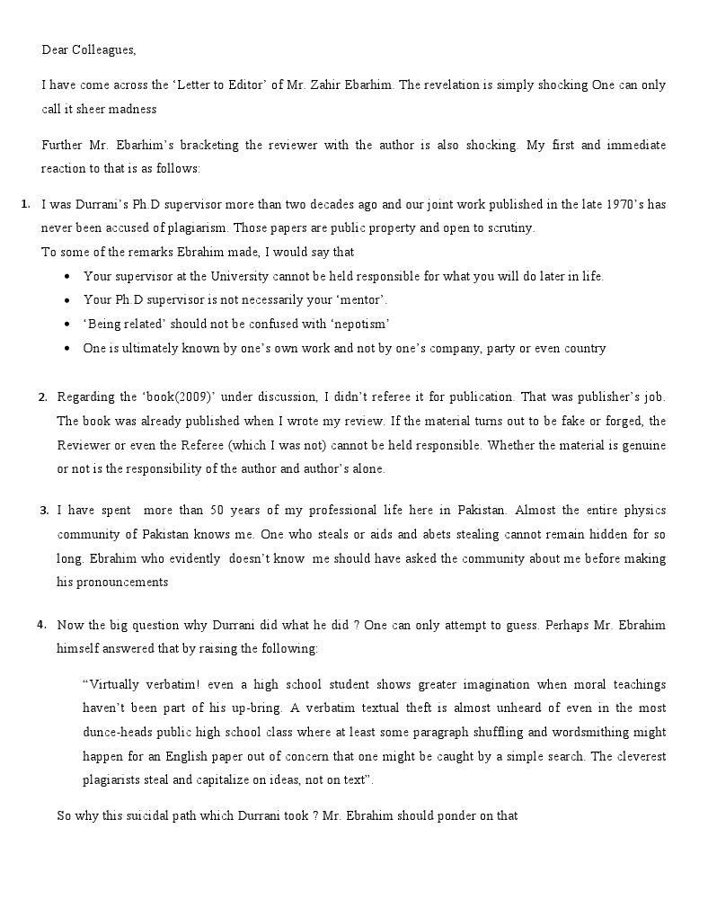 Dr. G. Murtaza's defense of himself