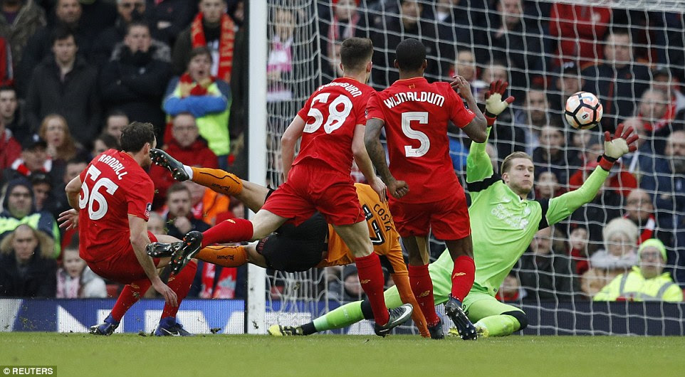 Wolves winger Costa managed to get a shot on goal but Liverpool goalkeeper Karius was equal to it