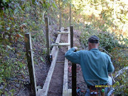 building a bridge on the North Country Trail