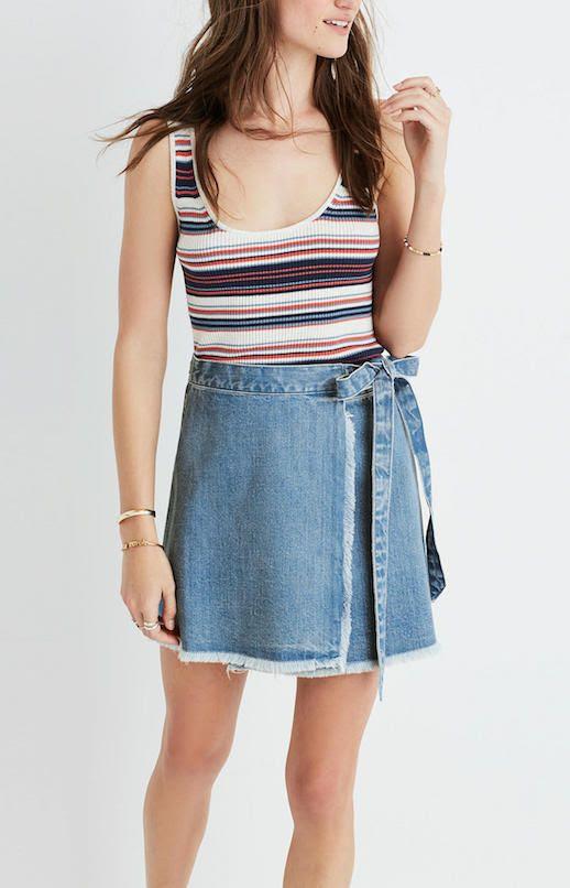 Le Fashion Blog Must Have Raw Hem Denim Wrap Mini Skirt Via Madewell