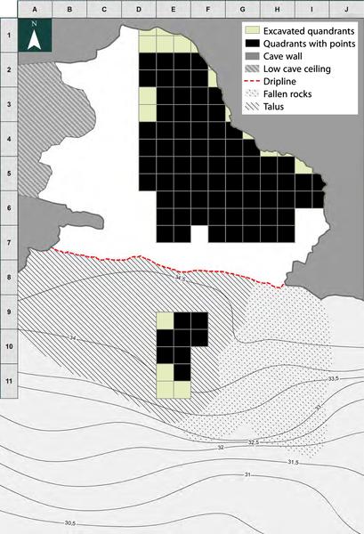 Figura 8. Blombos el mapa y la distribución espacial de la Naturaleza puntos Bay.
