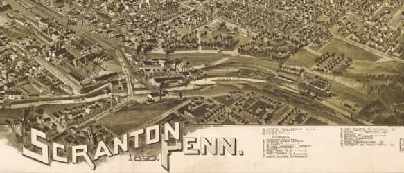 Birdseye Map Of Scranton Pennsylvania 1890