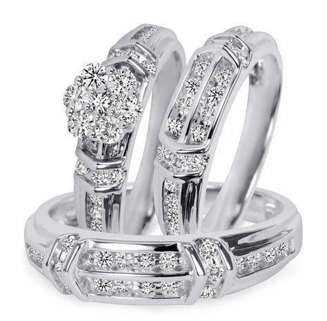 1 1 1 10 Carat T.W. Diamond Trio Matching Wedding Ring Set