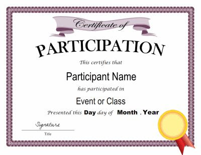 Certificate of participation template in PDF and DOC formats. Free ...