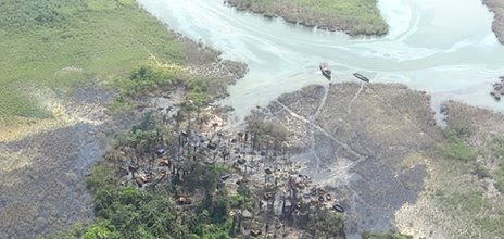 An illegal oil refinery photographed from the air