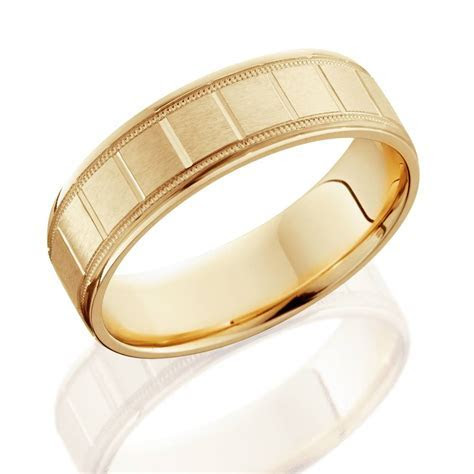 6mm Flat Brushed Hand Carved Mens 14K Yellow Gold Flat