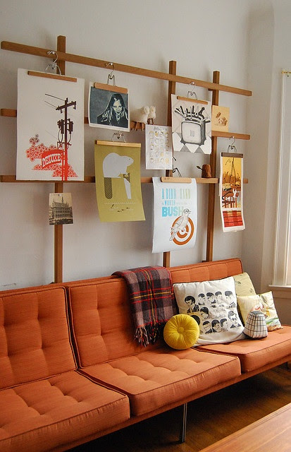 Nice sofa and wall display.