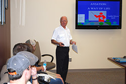 Ladde Mayer gave a presentation about aerodynamics at a Birmingham Southern College aviation career event for incoming freshmen.