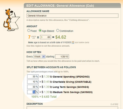 Edit Allowance Splits