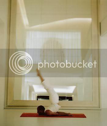 yoga loft, oversized mirror