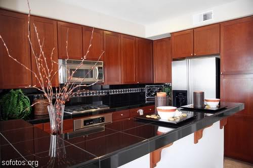 Cozinha moderna de cerejeira