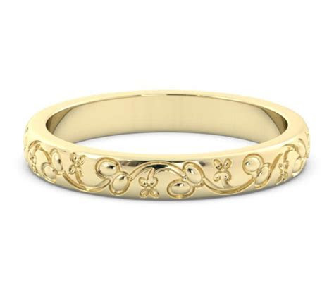 3mm 14K Yellow Gold Leaf Pattern Embossed Wedding Band