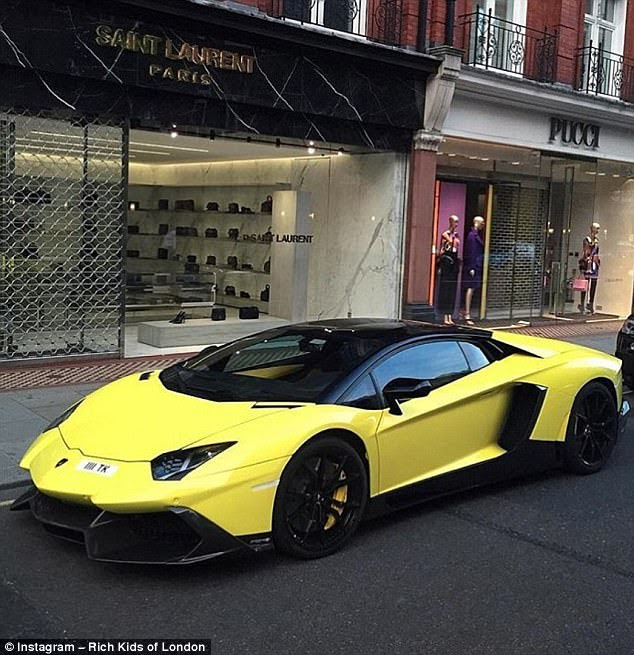 That's one way to get around! Chelsea-based Corentin Simon shared a snap of this Lamborghini Aventador - which cost upwards of £270,000 - on Sloane Street