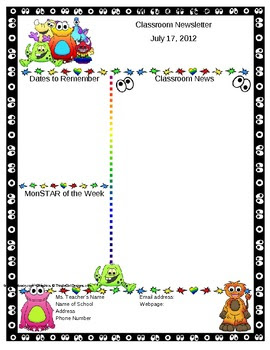 Monster Themed Classroom Newsletter Template -... by Mrs Magee ...