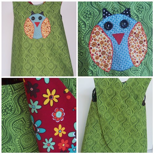 Owl Applique Reversible Pinafore