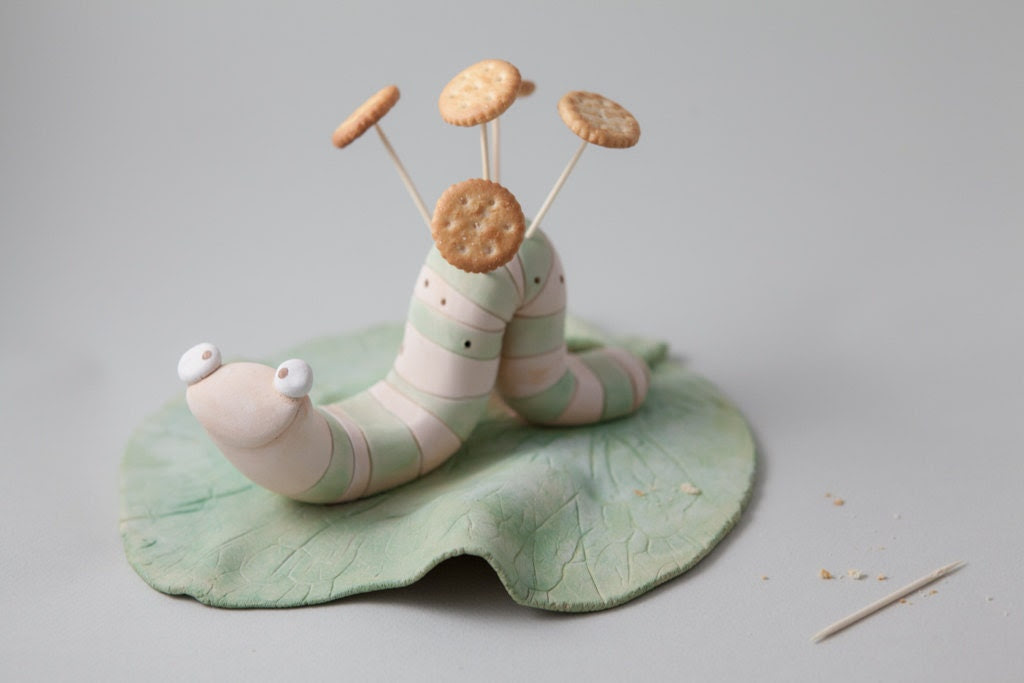 "Toothtpick Holder ""Caterpillars loves Kale 01"" Handmade Stoneware Sculpture, Ceramic Animal Figure - Murtiga"