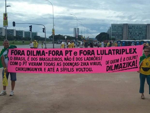 A empresária Clarisse Lessa, de 75 anos, carrega faixa com frases contra Dilma, Lula e o PT (Foto: Mateus Rodrigues/G1)