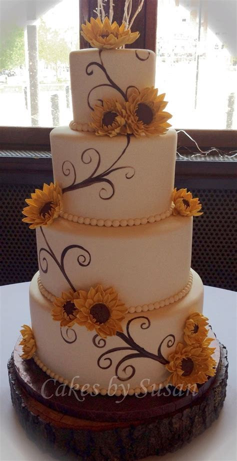 Hand Painted Sunflower Wedding Cake   CakeCentral.com