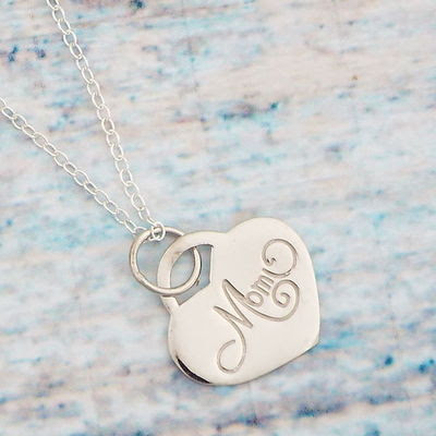 New sterling silver mom necklace, mother's day necklace, mother gift
